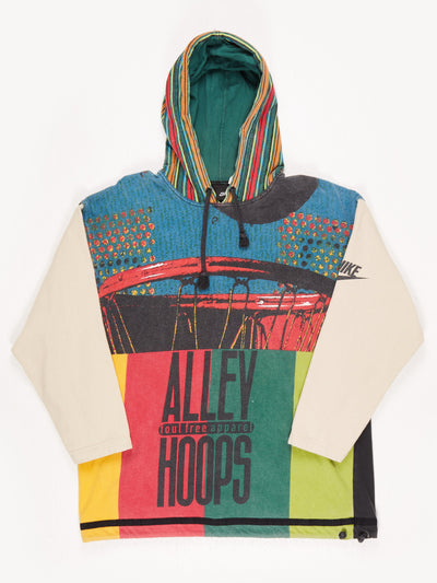 Nike 'Alley Hoops' Hoodie with Contrast Sleeves and Drawstring Hem. Multi Size Small