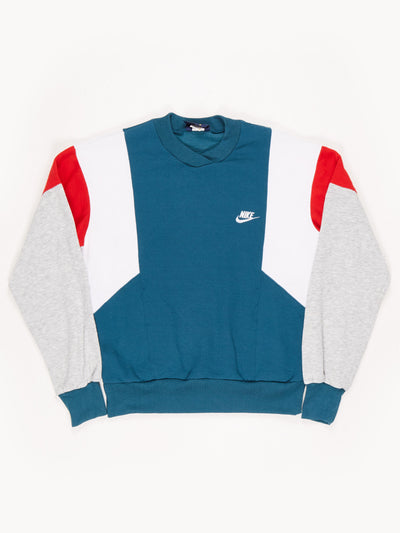 Nike V-Neck Sweatshirt with Fron Pockets. Green / Red / White / Grey Size Small