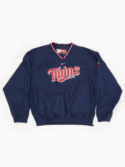 Minnesota Twins Nylon V-Neck Pullover with side Zip Blue / Red / White Size Large