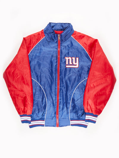New York Giants NFL Padded fleece lined Bomber Jacker Blue / Red Size Large