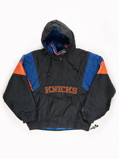 Starter New York Knicks NBA Padded Pro Sport Jacket Black / Orange / Blue Size Medium