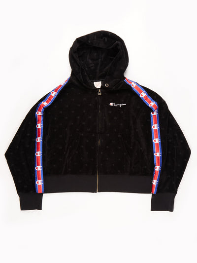 Champion Velour Hoodie Black / Red / Blue Size Large
