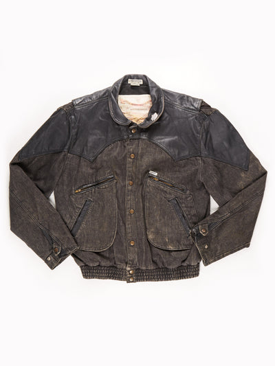 Guess Patch Leather jacket / Black / Size Large