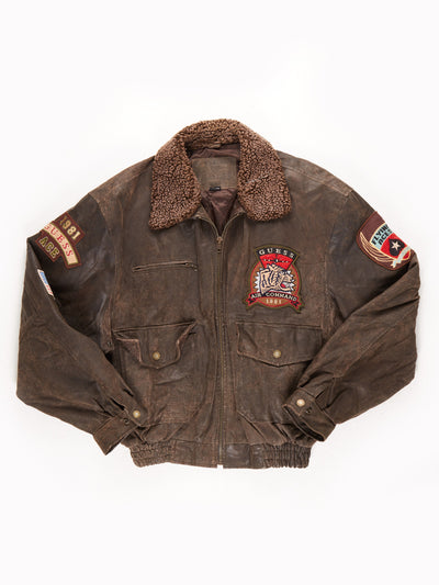 Guess Suede Bomber Jacket with Badge Detail / Brown / Size XL