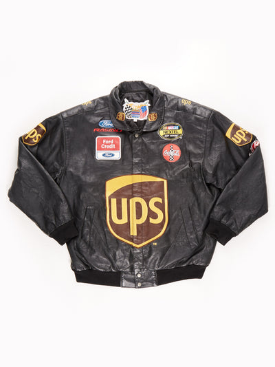 Ford Racing Leather Jacket / Black / Yellow / Size XXL