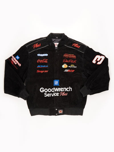 Nascar Racing Suede Bomber Jacket / Black / Red / Blue / White / Size XL