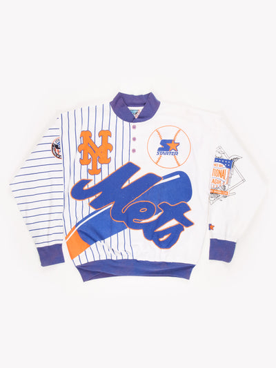 Starter New York Mets Basketball Jersey / White / Blue / Orange / Size Large