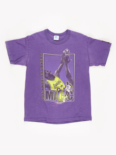 1990 Starter Los Angeles Lakers Magic Johnson T-Shirt / Purple / Yellow / Size Large