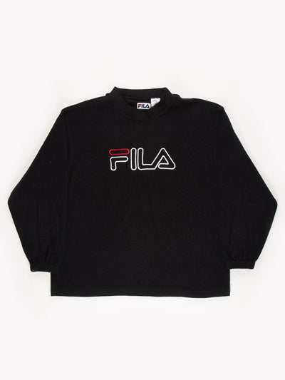 Fila Spell Out Fleece Sweatshirt Black / White / Red Size Large