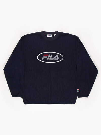 Fila Spell Out Fleece Sweatshirt Blue / White / Red Size Small