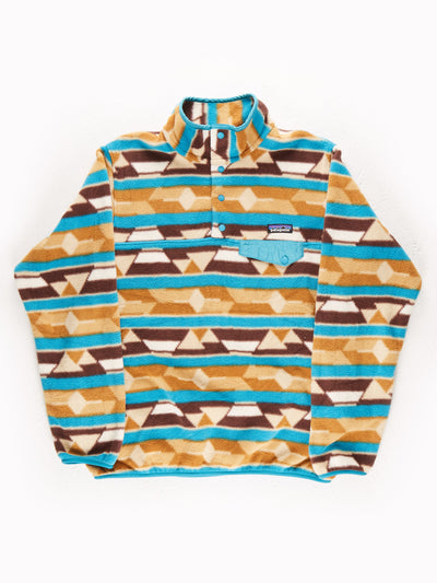 Patagonia Patterned Fleece Pullover  Blue / Brown Size Large