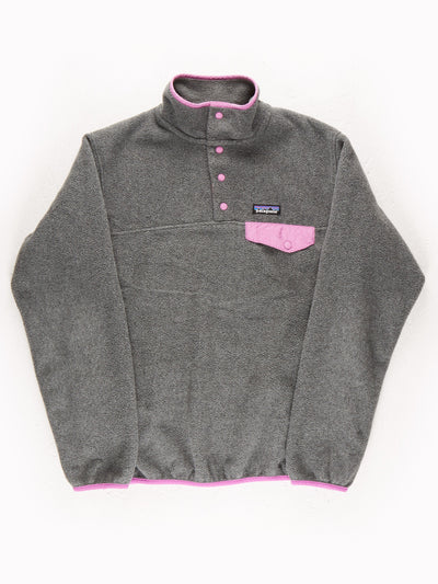Patagonia Fleece Pullover Grey / Pink Size Medium