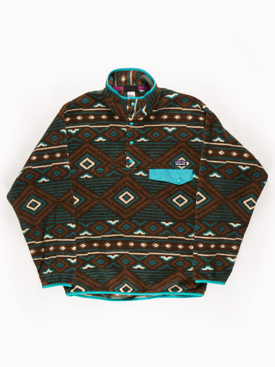 Patagonia Patterned Fleece Pullover Brown / Green / White Size Medium