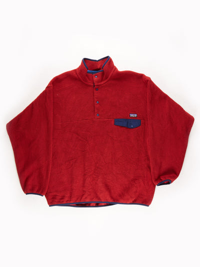Patagonia Fleece Pullover Red / Navy Size XL