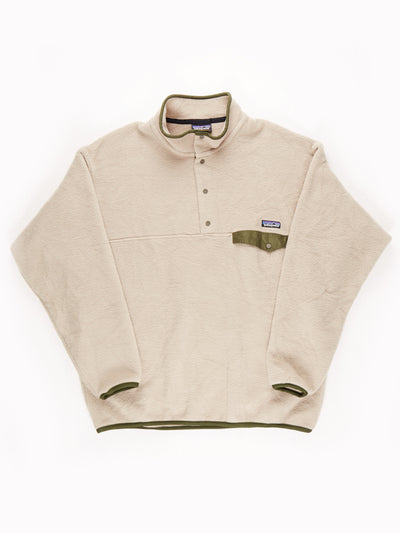 Patagonia Fleece Pullover Beige / Green Size XL