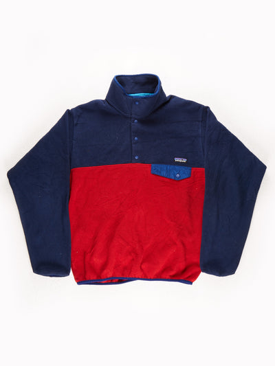 Patagonia Fleece Pullover Blue / Red Size Medium