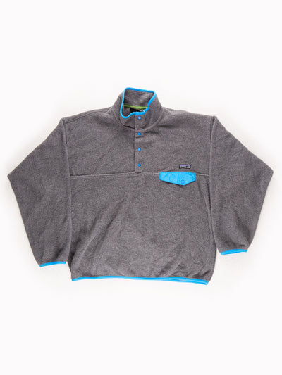 Patagonia Fleece Pullover Grey / Blue Size Large