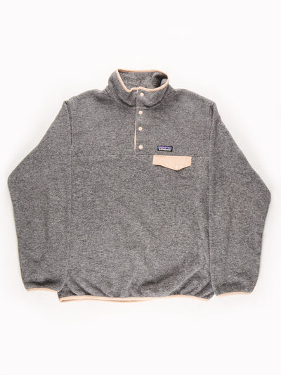 Patagonia Fleece Pullover Grey / Peach Size Large