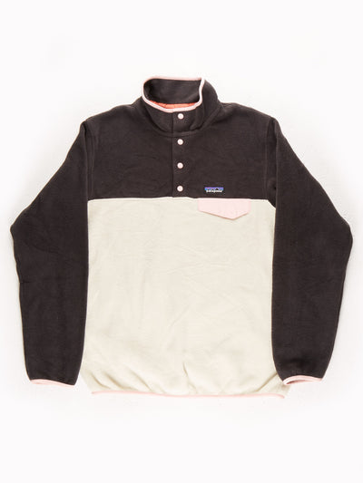 Patagonia Fleece Pullover White / Brown / Pink Size Large