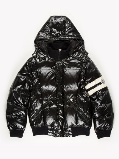 Moncler Zip Up Removable Hooded Puffer Jacket Black / White Size Large