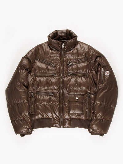 Moncler Zip Up Puffer Jacket with Multiple Zip Pockets Brown Size Medium