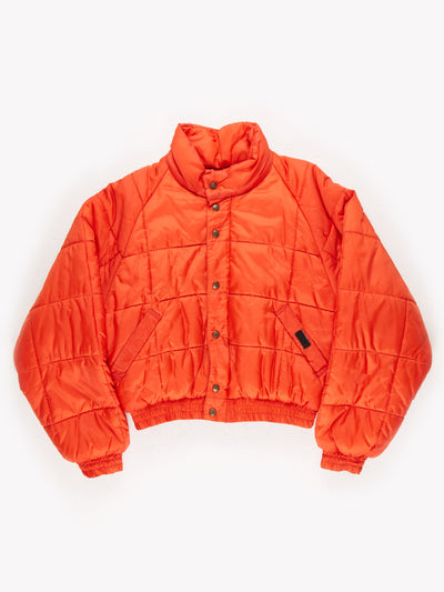 Short Zip Up Puffer Jacket with Poppered Overlay Orange Size Medium