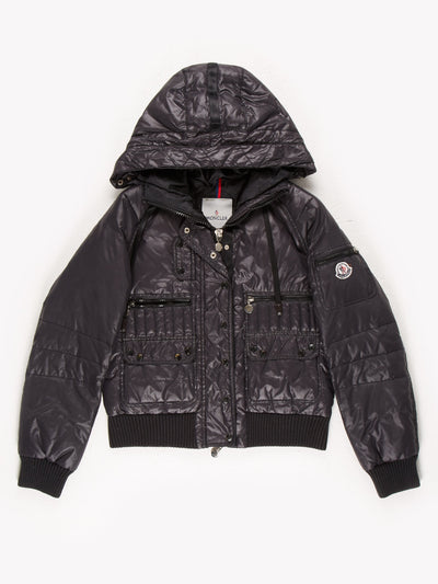 Moncler Zip Up Hooded Padded Jacket Black Size Small
