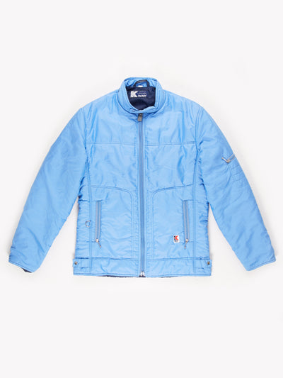K-Way Lined Zip Up Jacket with Concealed Hood Blue Size Medium