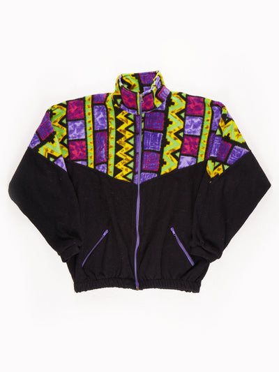 Sunset Patterened Zip up Fleece / Black / Yellow / Purple / Green / Size Small