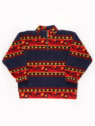 Bussola Patterened Fleece / Blue / Red / Yellow / Size Large