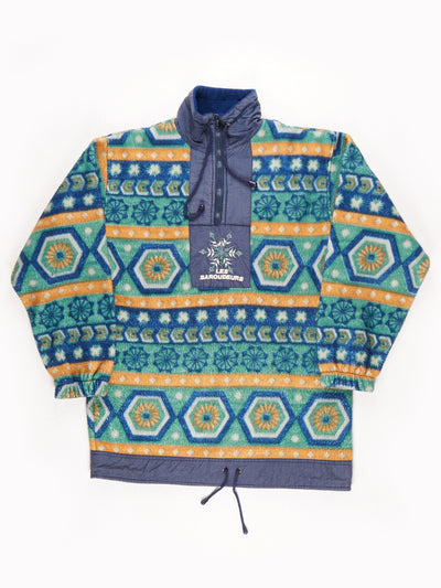 Les Baroudeurs Patterened Fleece / Blue / Green / Yellow / Size Small