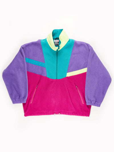Vau De Patterened Fleece / Purple / Green / Pink / Yellow / Size XL
