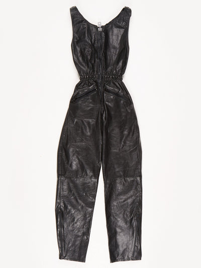 Angora Leather Jumpsuit / Black / Size 10
