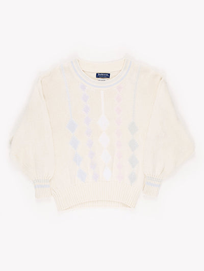 Burberry's Printed Knitted Jumper / White / Blue / Pink / Size Large