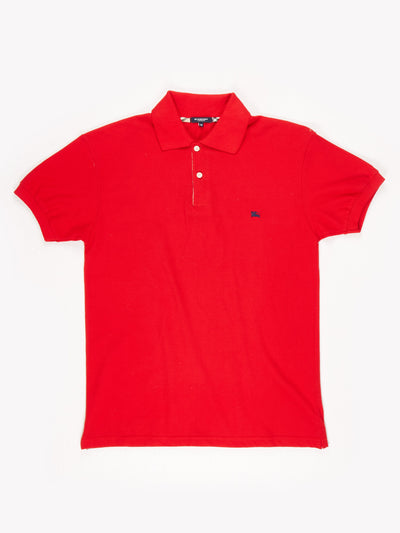 Burberry Polo Shirt / Red / Navy / Size Medium