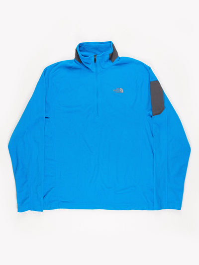 The North Face 1/4 Zip Fleece Blue Grey Size Large