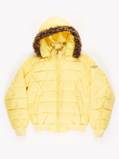 Polo Jeans Co Ralph Lauren Puffer Coat with Fur Trim on Hood Yellow Size Medium