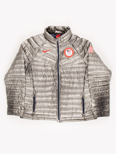 Nike Olympic Puffer Coat Silver Size XXL