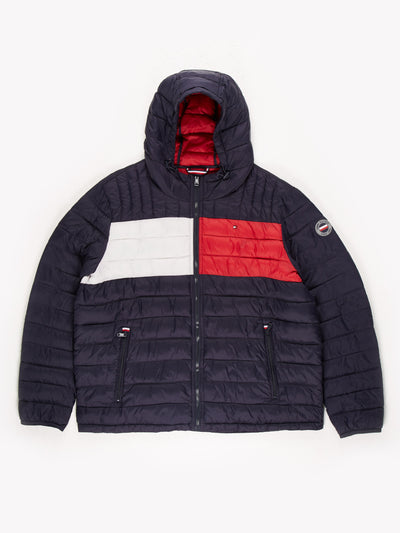 Tommy Hilfiger Puffer Coat / Blue / Red / White / Size XXL