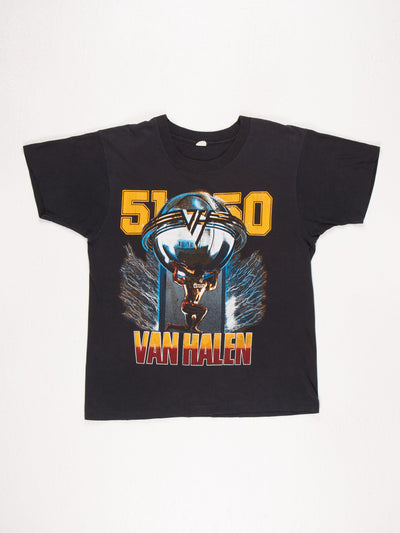Van Halen 1986 '5150' Tour T-Shirt / Black / Orange / Red / Blue / Size Medium