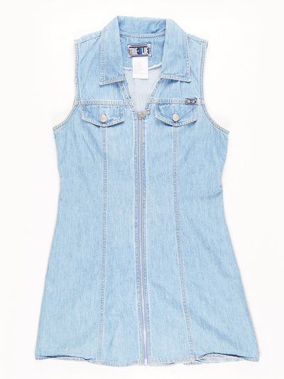 Denim Dress with Zip Detail Blue