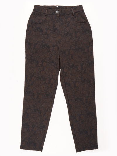 Floral Print Trousers / Black / Brown 28x29