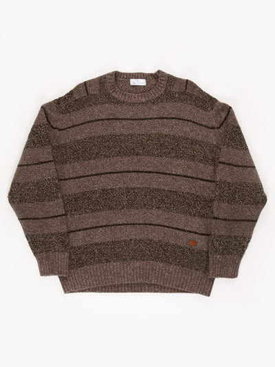 Valentino Stripe Patterend Knit Jumper / Brown / Size XL