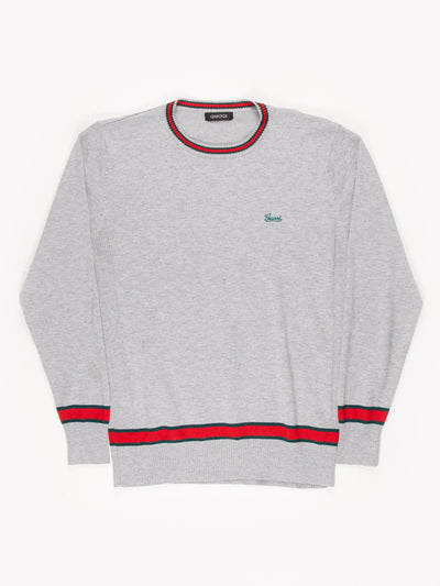 Gucci Knit Jumper With Stripe Detailing / Grey / Red / Green / Size Medium