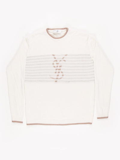 Yves Saint Laurent Knit Jumper Cream / Brown / Size Small