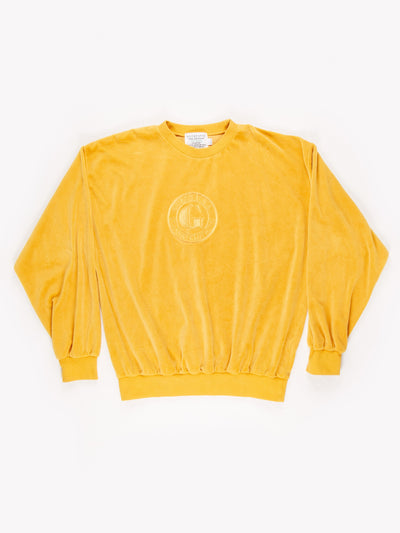 Guess Classic Velour Spell Out Embroidered Sweatshirt / Yellow/ Size Large