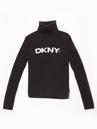 DKNY Active knit roll neck with spell out logo on front / black / white / Size Large