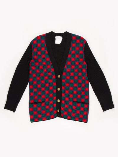Yves Saint Laurent Square Pattern Button Up Cardigan With Gold Hardwear / Red / Green / Blue / Size 46
