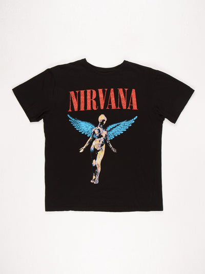 Nirvana Band T-Shirt / Black / Red / Blue / Yellow / Size Large