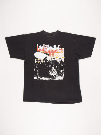 Led Zeppelin 1986 T-Shirt / Black / Pink / Red / Yellow / Size Large